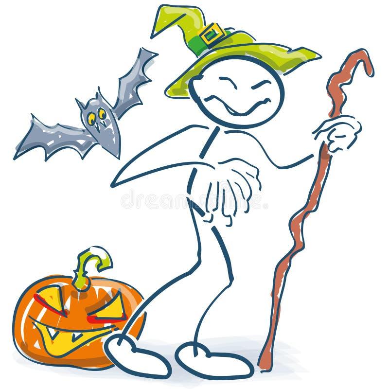 Диаграмма ручки как злий волшебник на хеллоуине и бесплатная иллюстрация