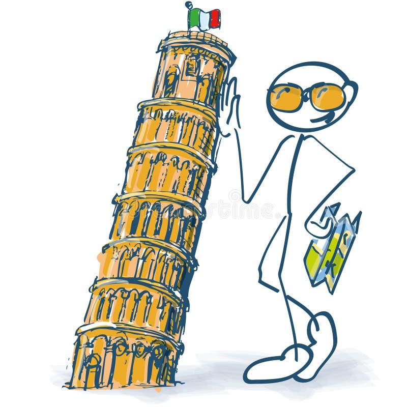 Диаграмма ручки как турист с башней склонности Пизы иллюстрация штока