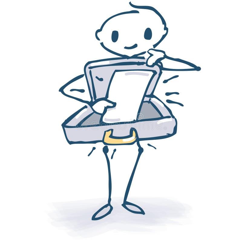 Диаграмма ручки с открытым чемоданом иллюстрация штока