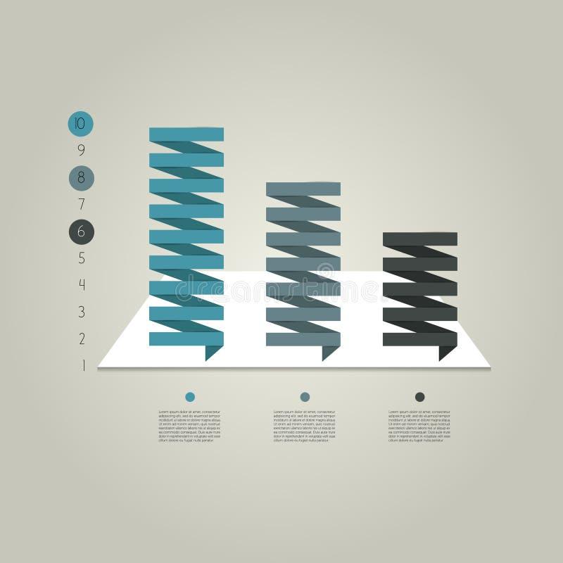 Диаграмма столбца, диаграмма указывая на первое положение сравнивая с другими иллюстрация штока