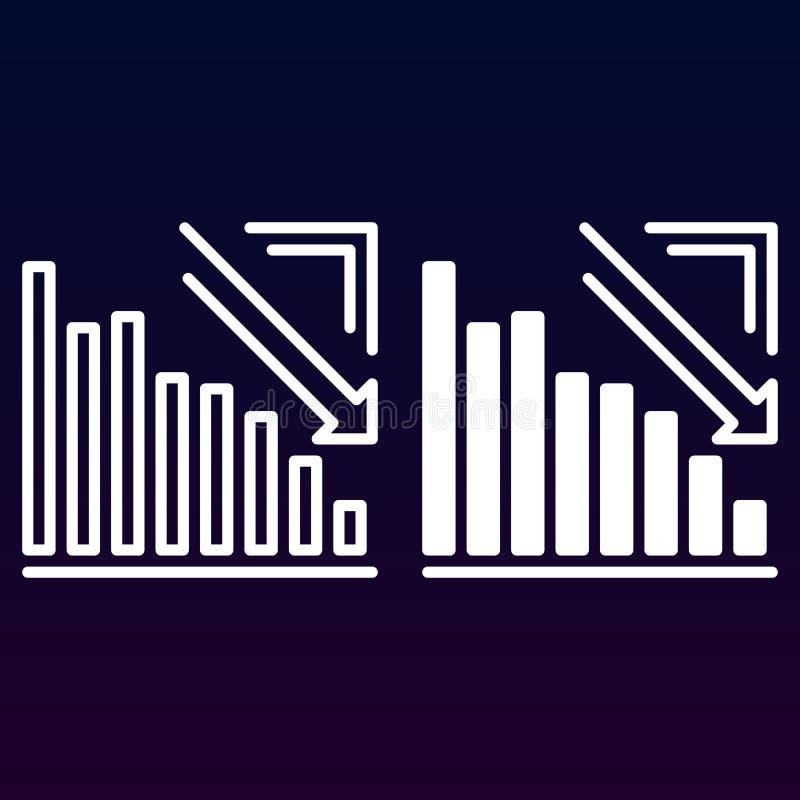 Диаграмма стрелки идя вниз с линии и твердого значка, план и заполненная пиктограмма знака вектора, линейных и полных изолированн иллюстрация штока
