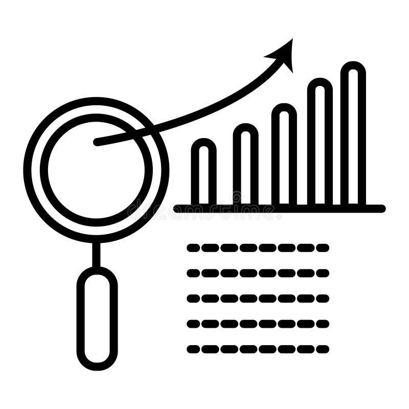 Диаграмма с увеличителем зацепляет икону иллюстрация вектора