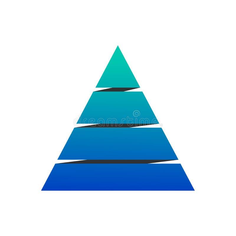 Диаграмма с 4 элементами, иллюстрация пирамиды вектора изолированная на белой предпосылке иллюстрация штока
