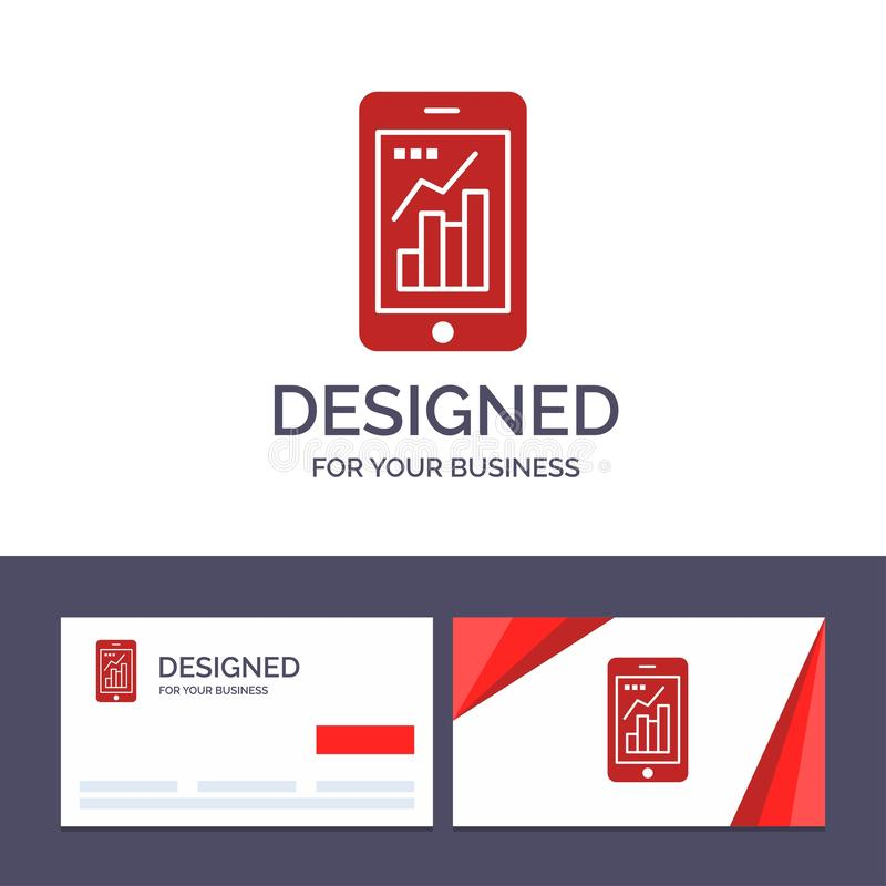 Диаграмма творческого шаблона визитной карточки и логотипа, аналитик, информация графическая, мобильная, мобильная иллюстрация ве иллюстрация вектора