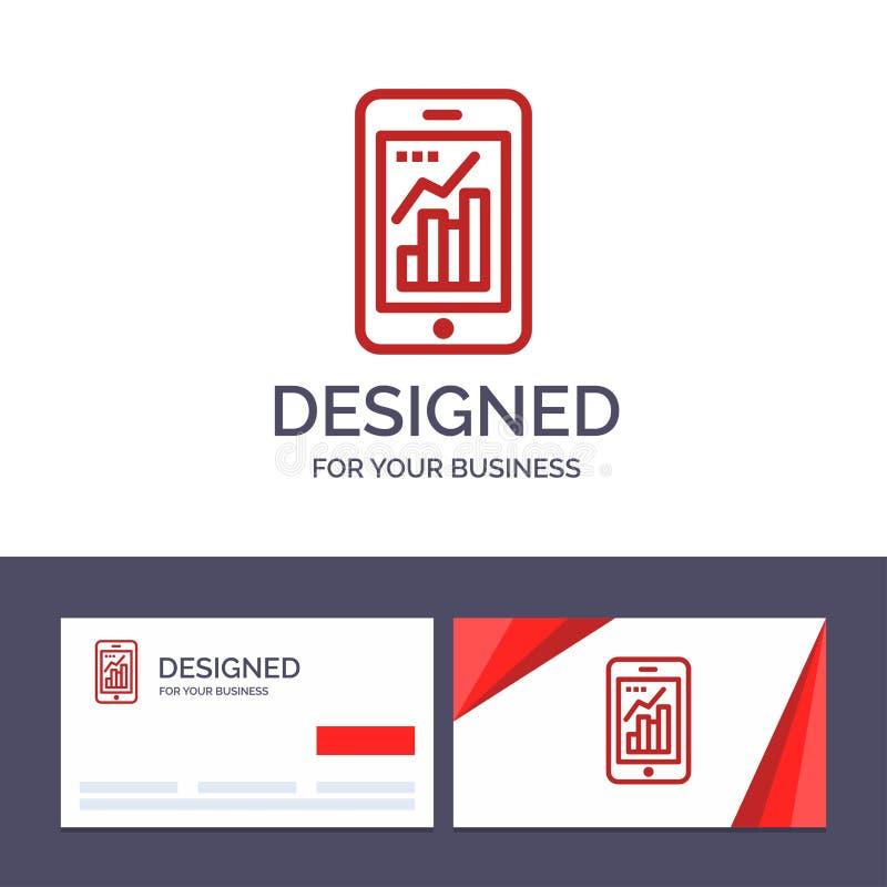 Диаграмма творческого шаблона визитной карточки и логотипа, аналитик, информация графическая, мобильная, мобильная иллюстрация ве бесплатная иллюстрация