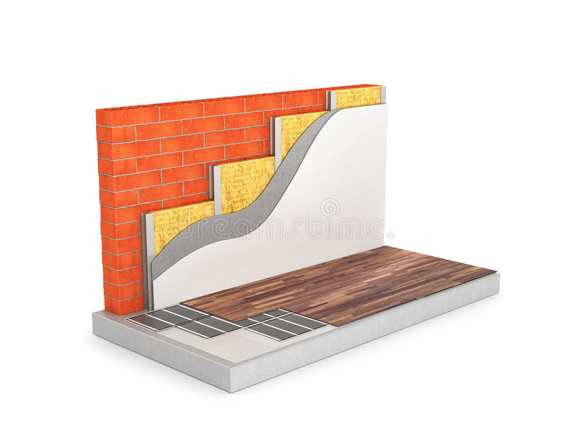 Диаграмма топления пола, изоляции стены цепи иллюстрация вектора