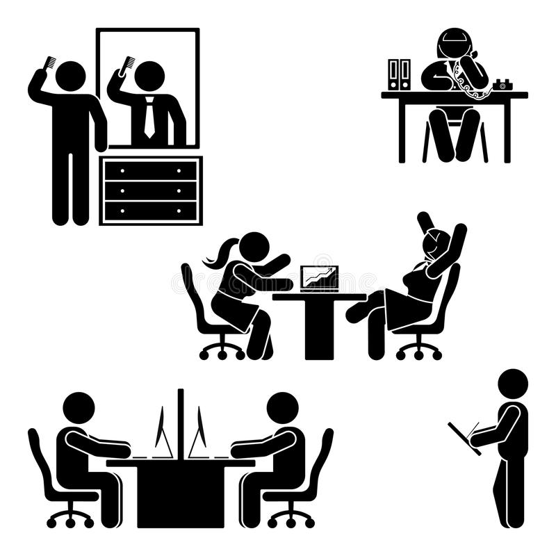 Диаграмма установленные представления ручки офиса Поддержка рабочего места финансов дела Работающ, сидящ, говорящ, встречающ, тре иллюстрация штока