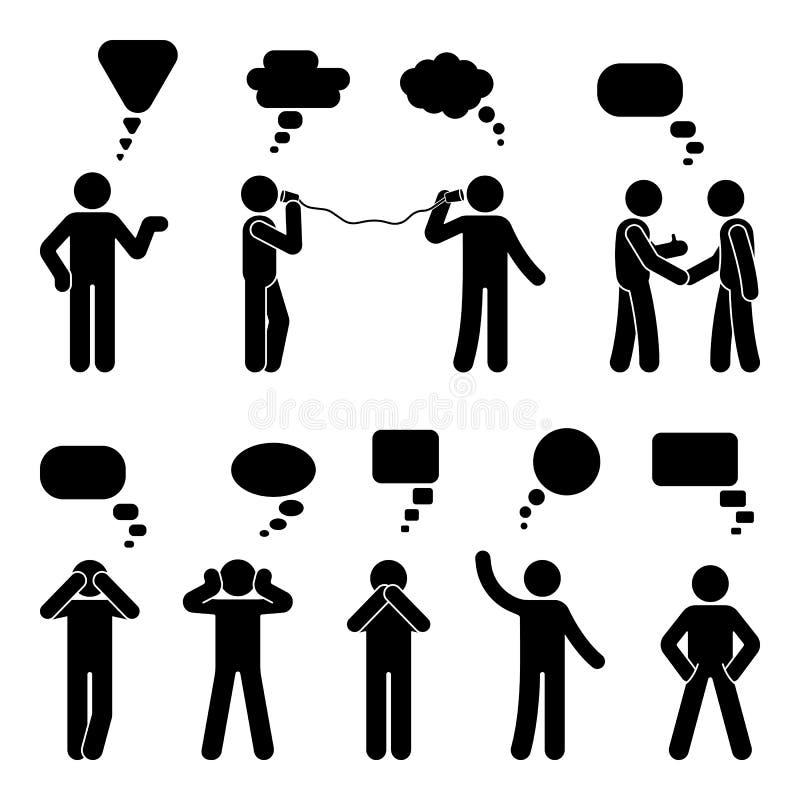 Диаграмма установленные пузыри ручки речи диалога Говорящ, думающ, связывая пиктограмма значка переговора человека языка жестов иллюстрация вектора