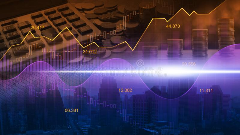 Диаграмма фондовой биржи или валют торгуя в графической двойной экспозиции c иллюстрация штока