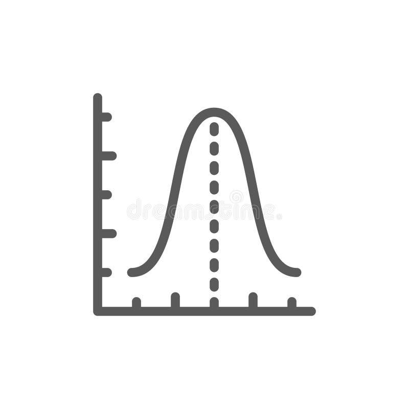 Диаграмма функции гистограммы гаусса, линия значок параболы иллюстрация штока