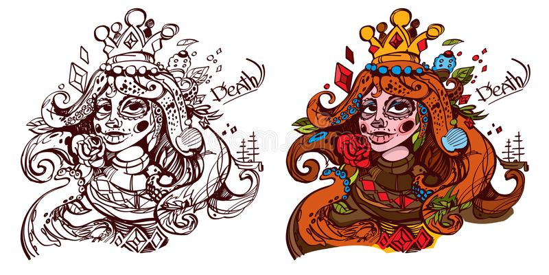 Диаграмма характер Молодая дама с символом костюма диамантов Ферзь палубы играя карточек иллюстрация штока