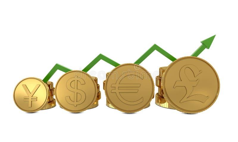 диаграмма чеканит символы валют золотистые зеленые иллюстрация вектора