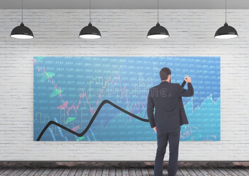 Диаграмма чертежа бизнесмена стоковые изображения rf