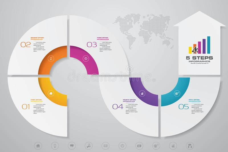 диаграмма шаблона элемента infographics стрелки 5 шагов для представления 10 иллюстрация вектора