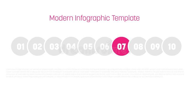диаграмма 10 шагов отростчатая современная infographic Шаблон диаграммы кругов Концепция дела 10 шагов или вариантов самомоднейше бесплатная иллюстрация