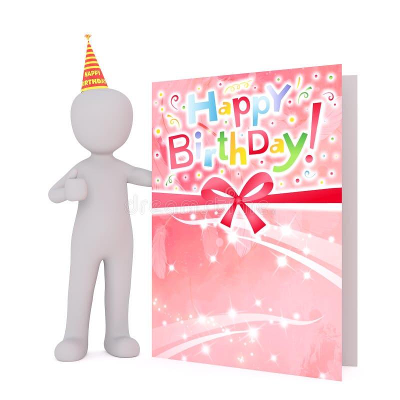 Диаграмма шаржа в шляпе партии с поздравительой открыткой ко дню рождения иллюстрация вектора
