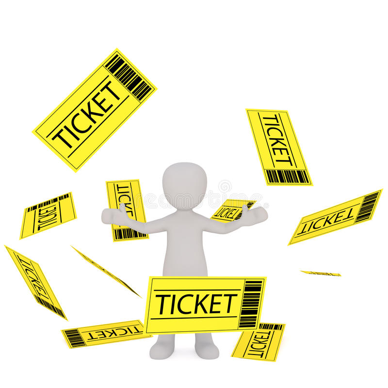 Диаграмма шаржа стоя среди падая билетов иллюстрация вектора