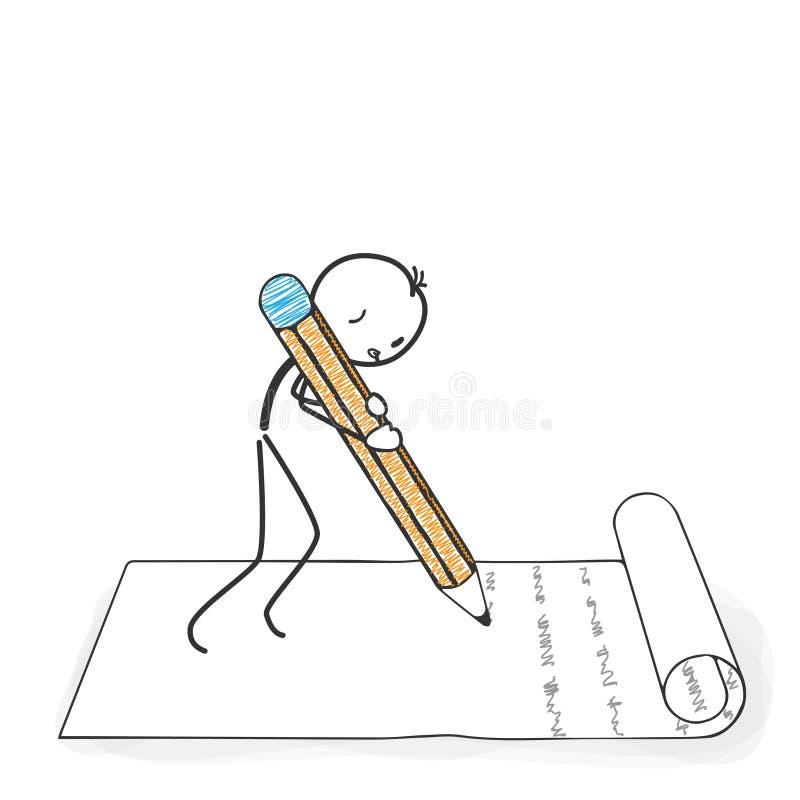Диаграмма шарж ручки - Stickman пишет письмо иллюстрация вектора
