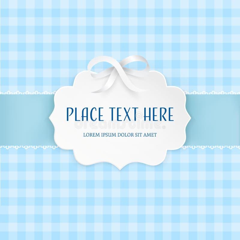 Диаграмма ярлык бумаги выреза 3D рамки с серебряным смычком сатинировки и свет - голубая лента на картине checkered плитки безшов иллюстрация штока