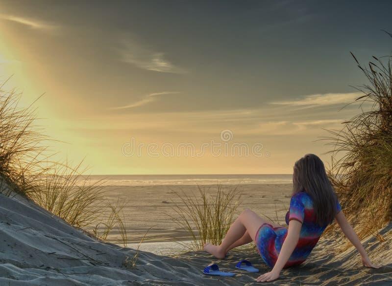 Диаграмма 3D представляет женщины наблюдая заход солнца на пляже стоковое изображение