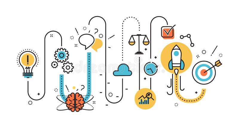 Диаграмма startup процесса для знамени вебсайта и страницы посадки бесплатная иллюстрация