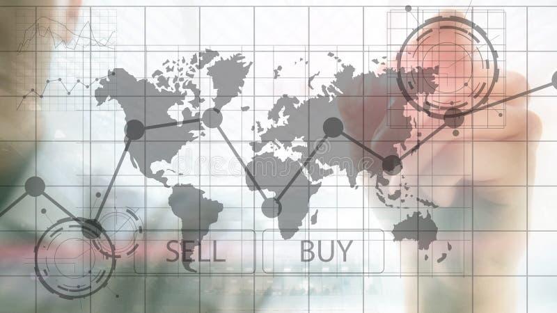 Диаграммы диаграммы вклада торговой операции валют финансовые Концепция дела и технологии иллюстрация штока