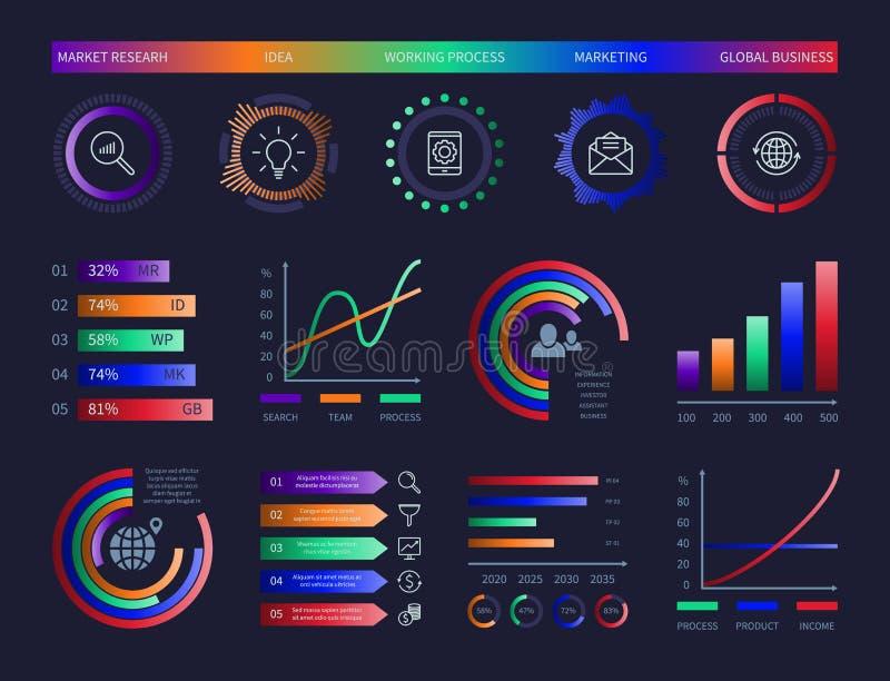 Диаграммы данным по шаблона дизайна приборной панели диаграммы графических данных иллюстрации infographic диаграмм вектора hud те бесплатная иллюстрация