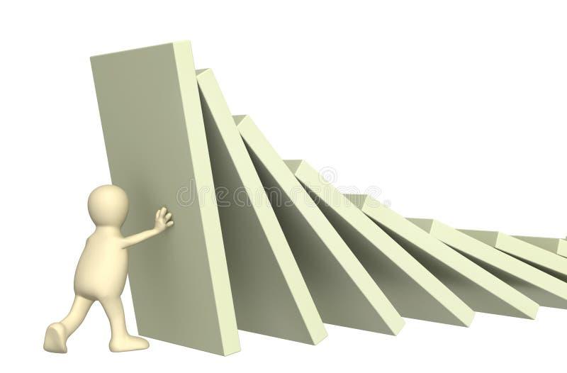 диаграммы домино 3d держа марионетку иллюстрация вектора