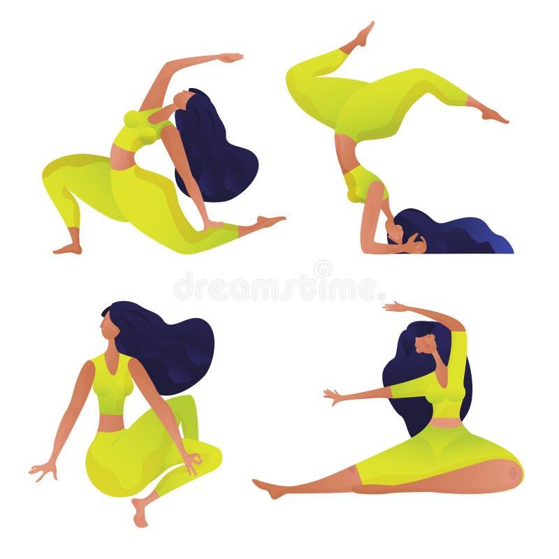 Диаграммы женщин Yogi УСТАНОВИЛИ в различные представления и asana йоги Шаблон дизайна спорта для плаката, брошюры, буклета o иллюстрация штока