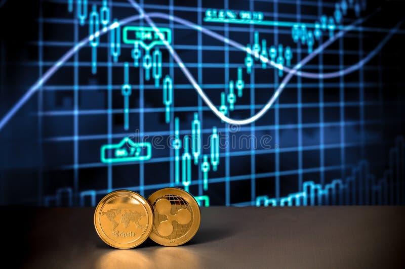Диаграммы и диаграммы Cryptocurrency финансовые с 2 золотыми монетками XRP секретными валюты пульсации тайнописной стоковое фото