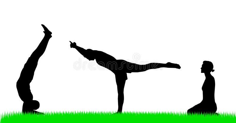 диаграммы йога силуэта иллюстрация вектора