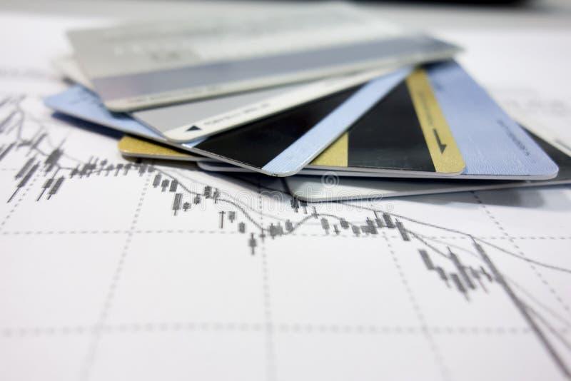 Диаграммы карт и данных по банка стоковая фотография