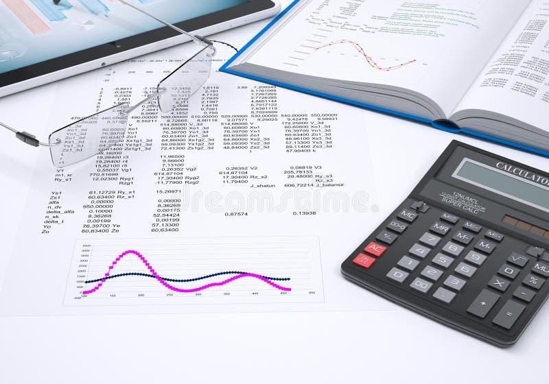 Диаграммы книги, калькулятора и бумаги стоковые фото