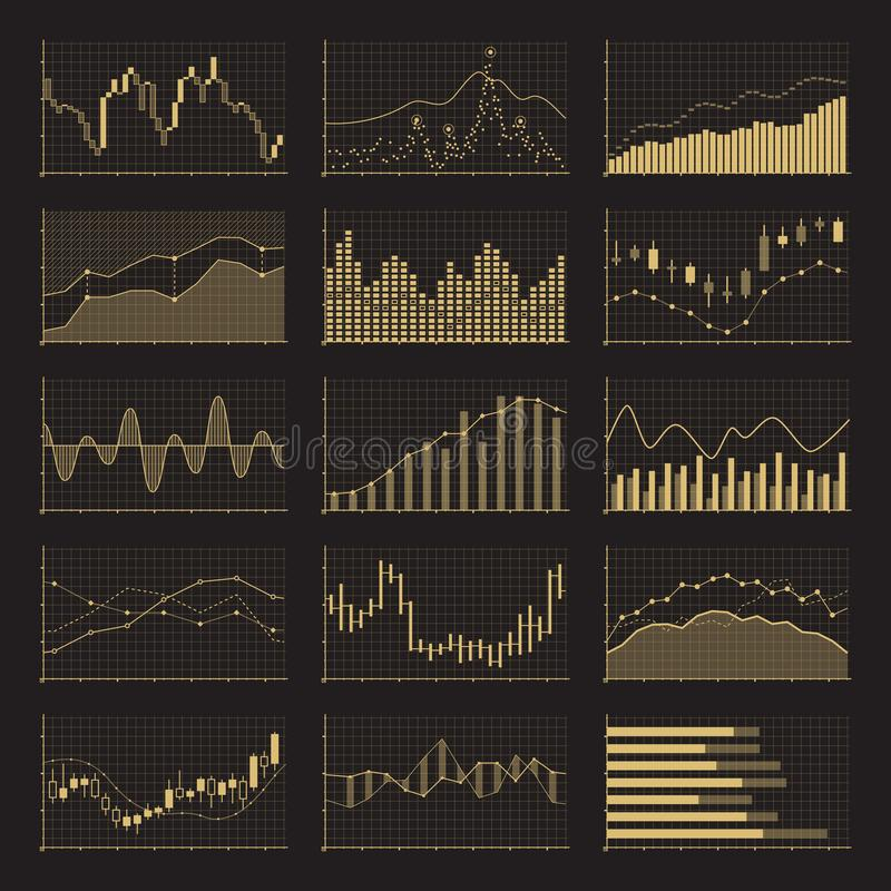 Диаграммы коммерческих информаций финансовые Графики анализа запаса на черной предпосылке иллюстрация штока