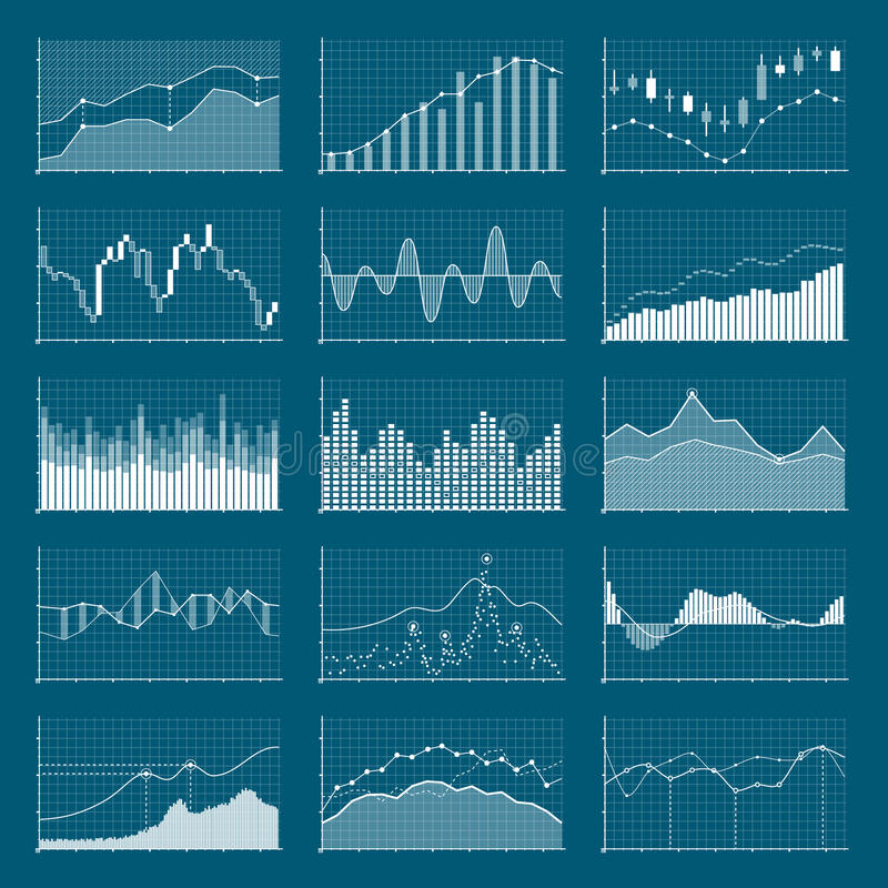 Диаграммы коммерческих информаций финансовые Графики анализа запаса Комплект вектора диаграмм растя и падающей конъюнктуры иллюстрация штока