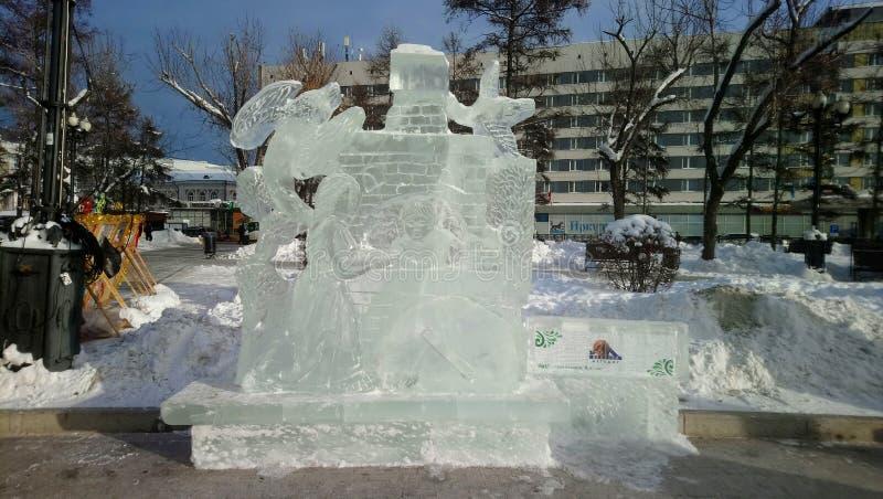Диаграммы льда в парке стоковая фотография rf