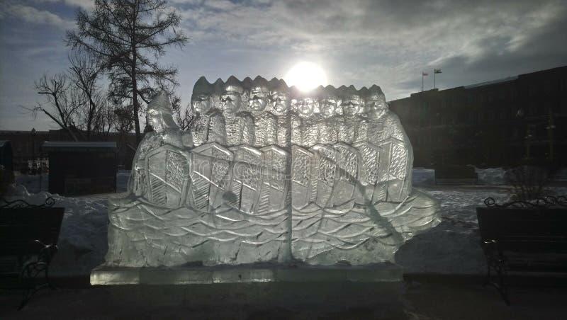 Диаграммы льда в парке стоковая фотография
