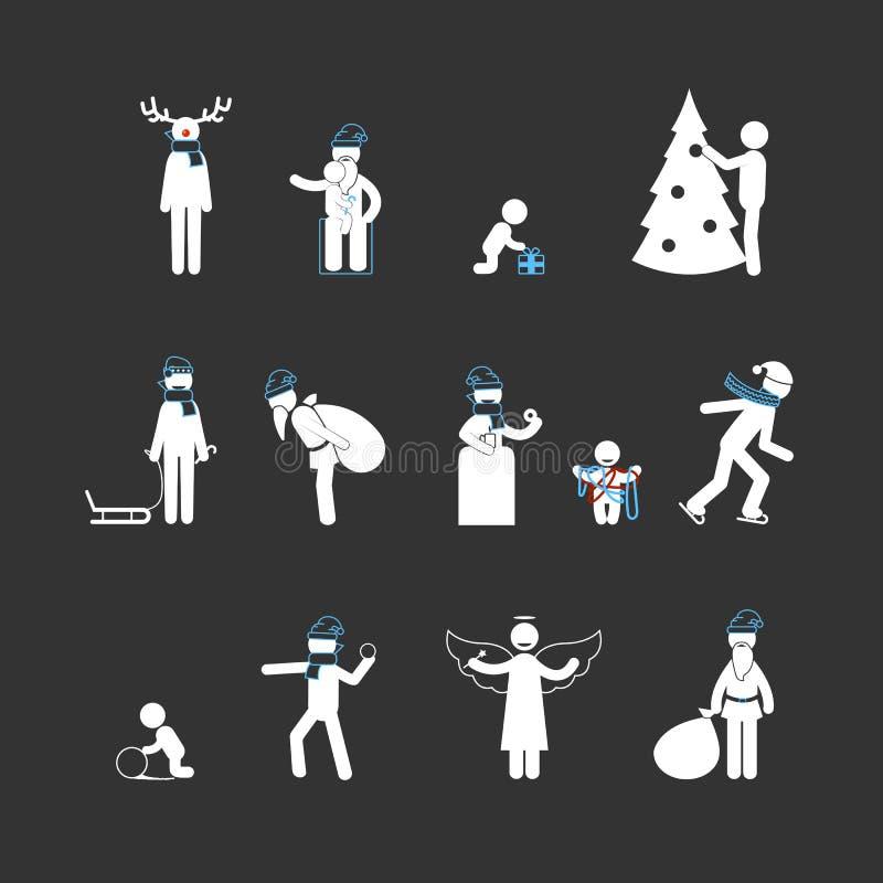 Диаграммы ручки года Christmas&new белые иллюстрация штока