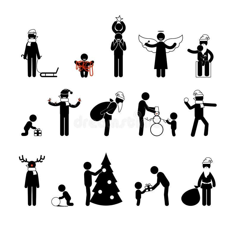 Диаграммы ручки года Christmas&new иллюстрация вектора