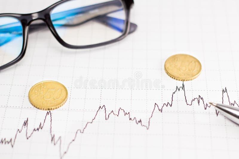 Диаграммы, стекла, калькулятор и монетки на столе офиса стоковые фотографии rf