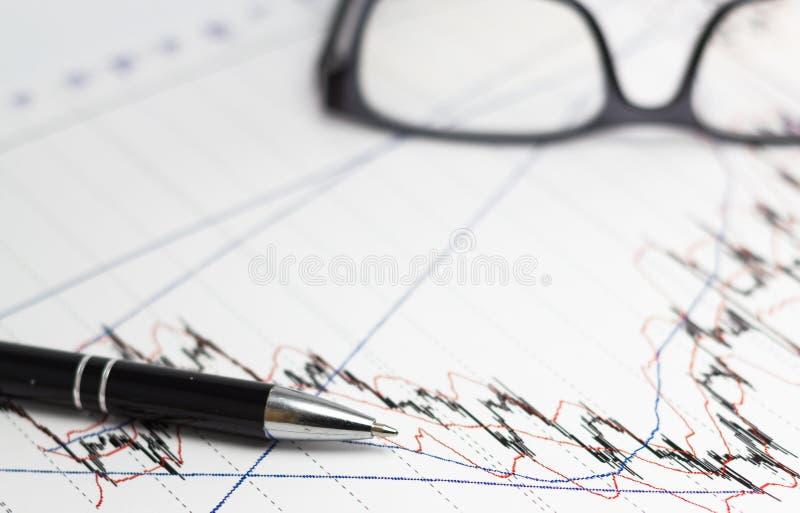 Диаграммы, стекла, калькулятор на столе офиса стоковые изображения rf