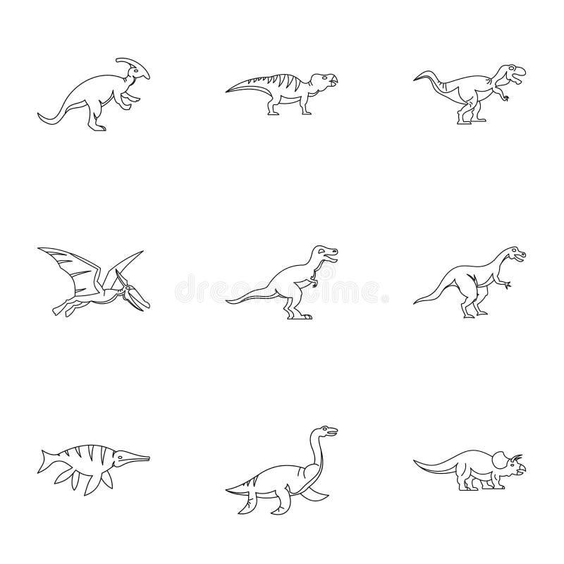 Диаграммы установленные значки, стиль динозавра плана иллюстрация вектора