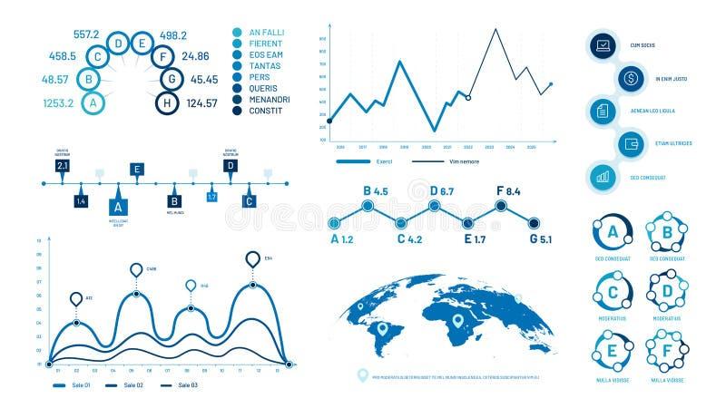 Диаграммы диаграммы Infographics Диаграммы данным по гистограммы, диаграмма временной последовательности по пузырей графические и иллюстрация вектора
