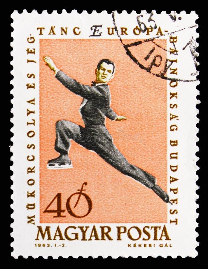 Диаграмм-катающся на коньках, европейский чемпионаты фигурного катания, serie Будапешта, около 1963 стоковые изображения