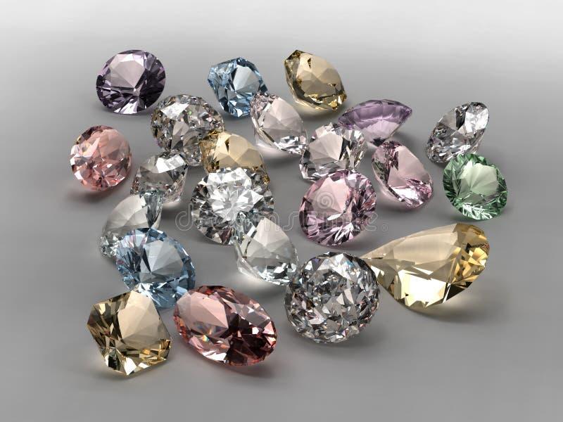 диаманты собрания цветастые иллюстрация вектора