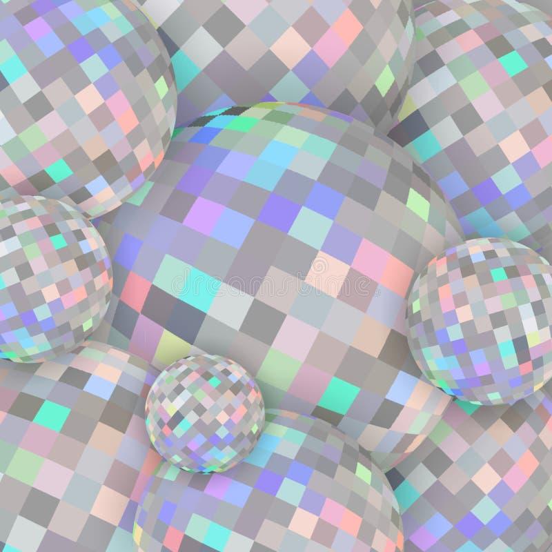 диаманты сферы 3d shimmer предпосылка Радужная мозаика яркости Текстура Hologram кристаллическая иллюстрация вектора