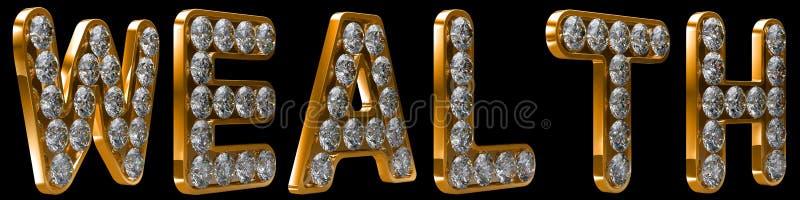 диаманты incrusted слово богатства иллюстрация вектора