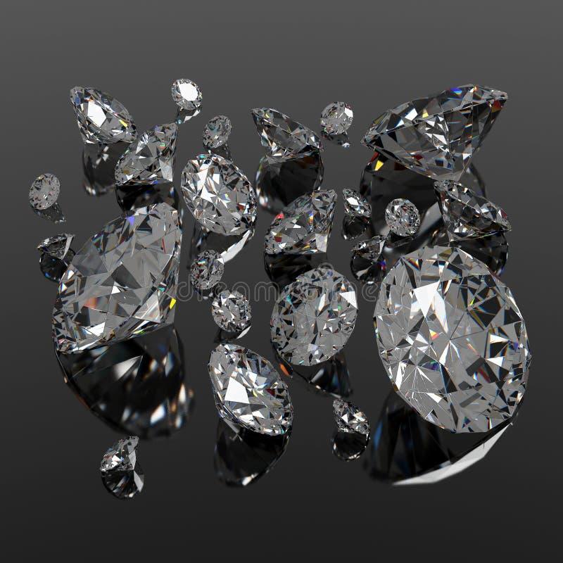 Диаманты jewel на черной поверхности иллюстрация вектора