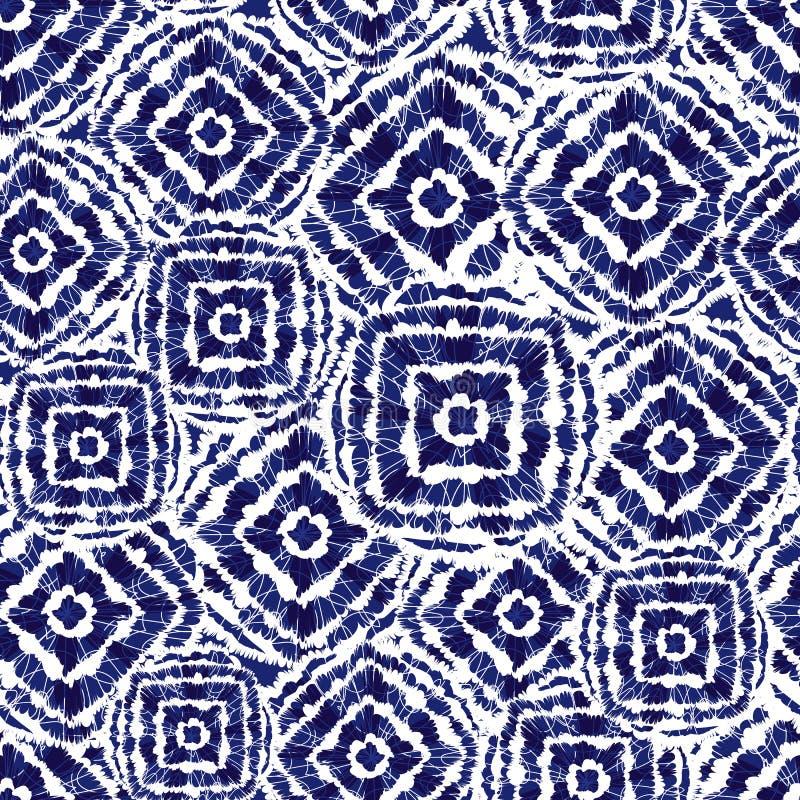 Диамант вектора голубые и белые квадраты shibori и перекрывают patten Соответствующий для ткани, обруча подарка и обоев иллюстрация вектора