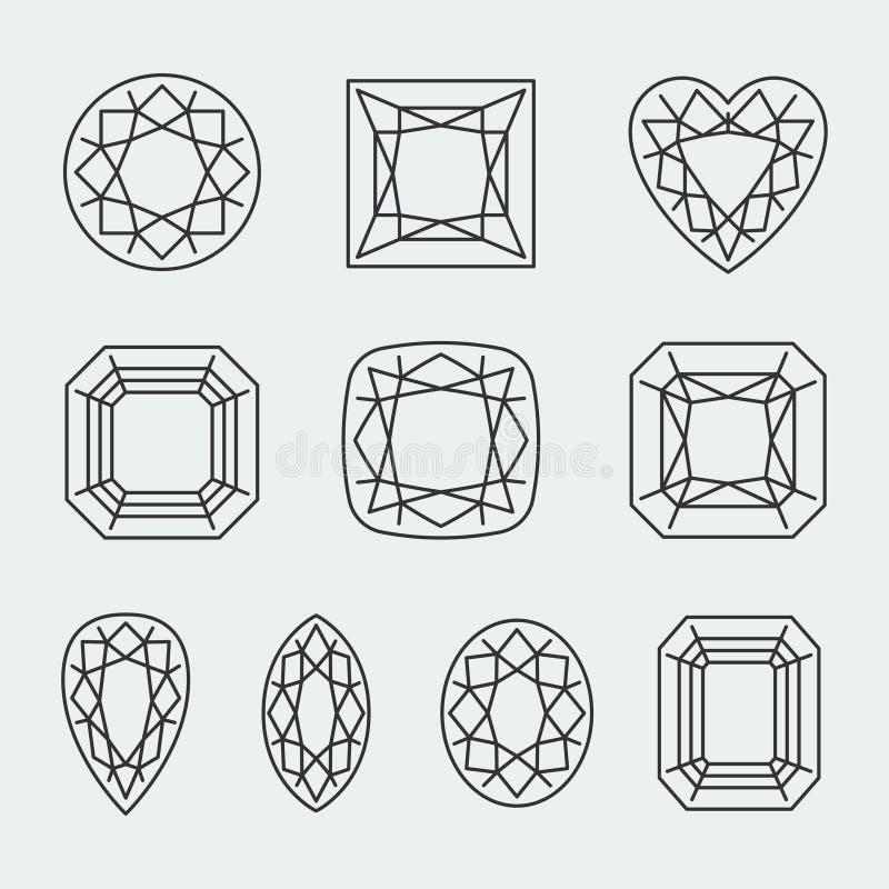 Диамант вектора режет значки бесплатная иллюстрация